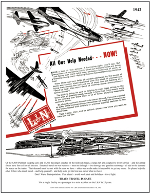 Tin Sign L&N at war 1942 Ad