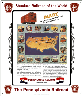 Tin Sign PRR Box Car Diary in WWII