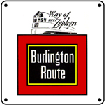 Burlington w/Zephyr Logo 6x6 Tin Sign