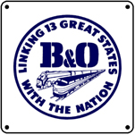 B&O 13 States Logo 6x6 Tin Sign