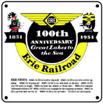 ERIE 100th Logo 6x6 Tin Sign