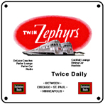 Twin Zephyrs Logo 6x6 Tin Sign
