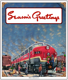 Tin Sign MONON Christmas Scene