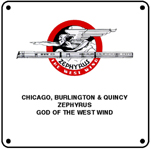 CB&Q Zephrus God Logo 6x6 Tin Sign