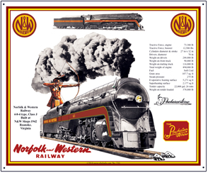 Tin Sign N&W 4-8-4 Streamlined Steam