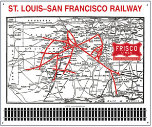Tin Sign FRISCO System map 1941
