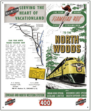 Tin Sign C&NW North Woods Ad
