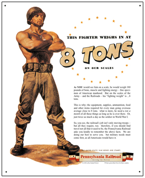 Tin Sign PRR 8 Tons of WWII Supplies