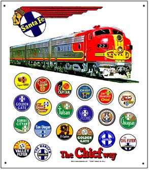Tin Sign Santa Fe Historic Logos w/Diesel