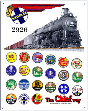 Tin Sign Santa Fe Historic Logos w/Steam