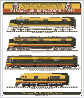 Tin Sign Seaboard Air Line Diesels