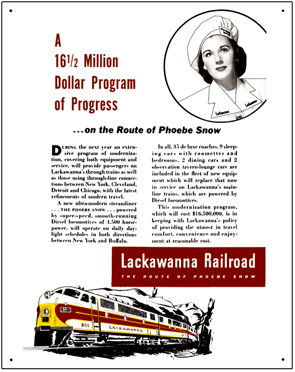 Tin Sign Lackawanna Phoebe Ad