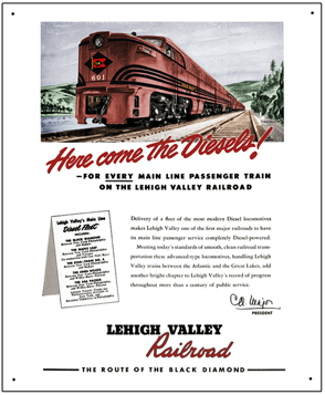Tin Sign Lehigh Valley New Diesels