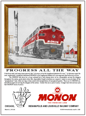Tin Sign MONON Snow Scene