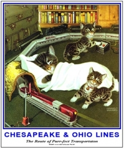 Tin Sign Kittens playing w/train