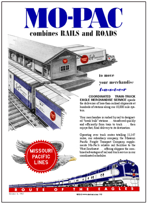 Tin Sign MoPac 1952 Ad