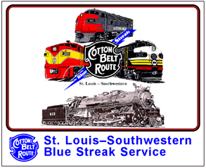 Tin Sign Cotton Belt Locomotives