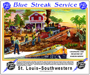 Tin Sign Cotton Belt Rail Scene