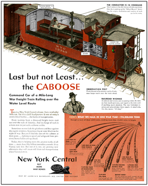 Tin Sign New York Central Caboose