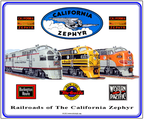 Tin Sign Calif Zephyr RR's Large