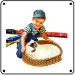 C&O Boy w/Chessie & Train 6x6 Tin Sign