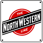C&NW The NorthWestern Line 6x6 Tin Sign