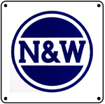 N&W Blue Logo 6x6 Tin Sign