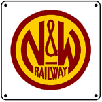 N&W Railway Logo 6x6 Tin Sign