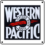 Western Pacific Logo 6x6 Tin Sign
