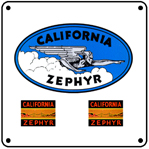 Calif Zephyr Logo 6x6 Tin Sign