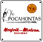 N&W Pocahontas Script Train 6x6 Sign
