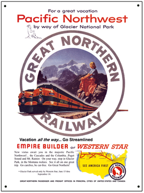 Tin Sign GN Pacific Northwest Ad