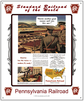Tin Sign PRR War Train