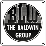 Baldwin Locomotive Works Logo 6x6 Tin Sign