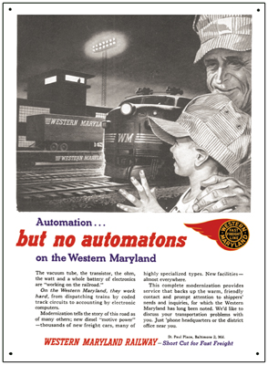 Tin Sign Western Maryland Automation