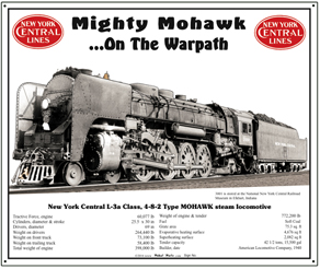 Tin Sign New York Central Mohawk w/Specs