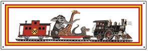 Tin Sign Animal Train