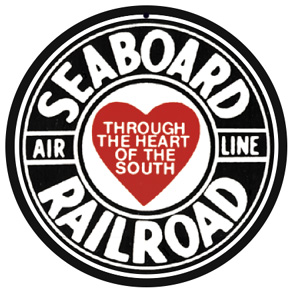 Seaboard Air Line logo on round tin