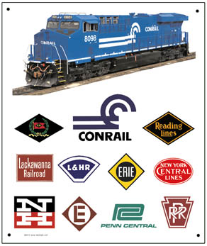 Tin Sign CONRAIL Historic Logos