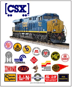 Tin Sign CSX Historic Logos