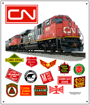 Tin Sign CN Historic Logos