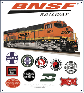 Tin Sign BNSF Historic Logos