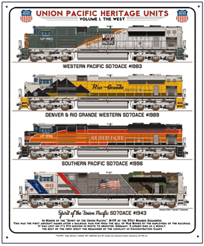Tin Sign UP Heritage West Diesels