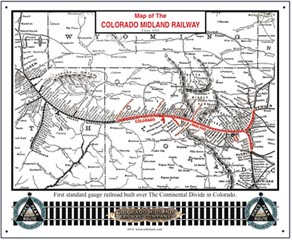 Tin Sign Colorado Midland Map