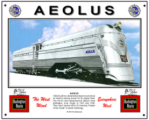 Tin Sign CB&Q Aeolus Engine