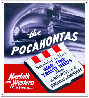 Tin Sign N&W Pocahontas @ War