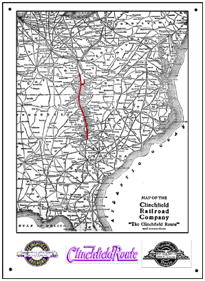 Clinchfield system map sign