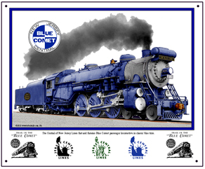 Tin Sign Blue Comet Steam
