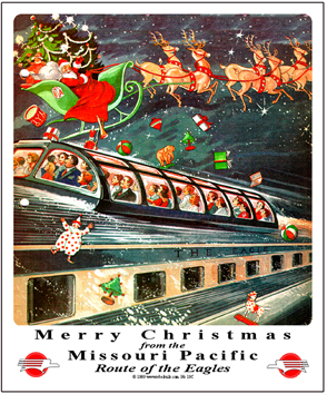 Tin Sign MoPac Christmas Scene