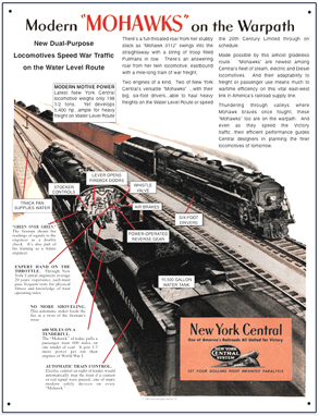 Tin Sign New York Central Mohawk War Engines